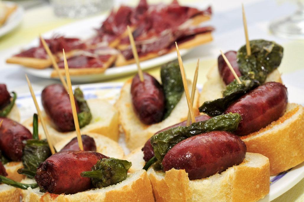Spanish tapas chorizo with padron 1