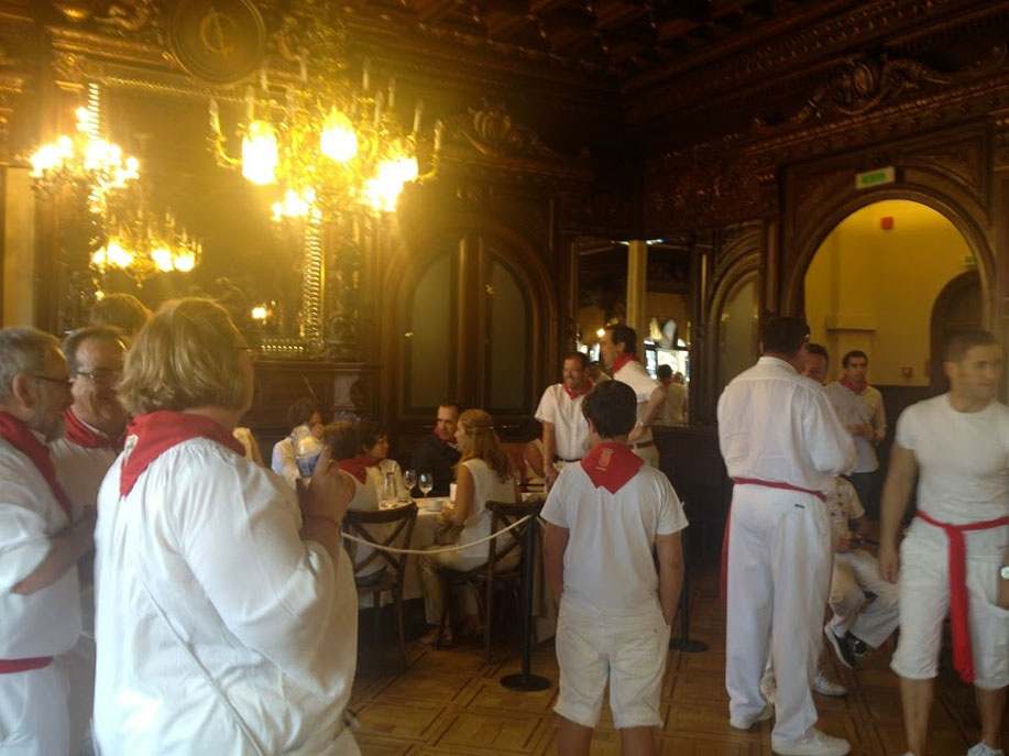 At the Casino of Pamplona, all day party in San Fermin, Paladar y Tomar