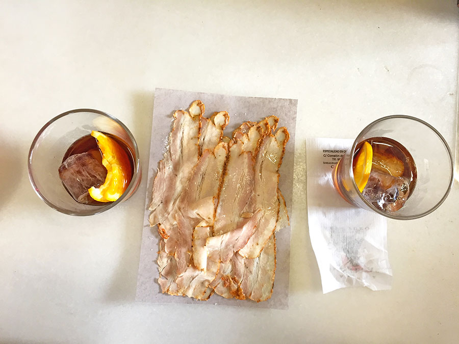 Chicharrones from Cadiz, delicious sliced roasted pig tapa, Paladar y Tomar