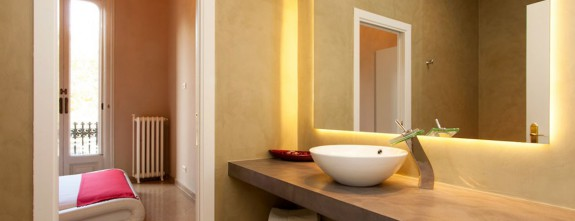 One of the stylish bathrooms at this luxury apartment in Paseo de Gracia in Barcelona