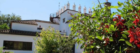The impressive facade of the cortijo near Jerez, Andalucia