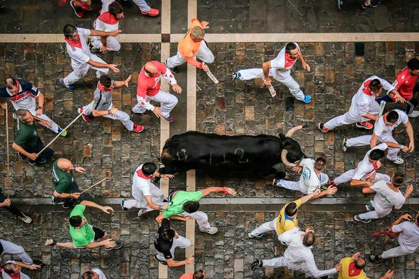 Running of the Bulls in Estafeta street, with Paladar y Tomar