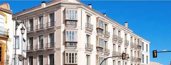 Main facade of Posada del Patio luxury hotel in Malaga