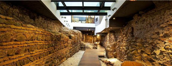 The roman wall under Posada del Patio luxury hotel in Malaga