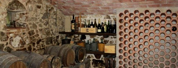 The old wine cellar at Mas Esteve country house in stone, luxury properties Emporda